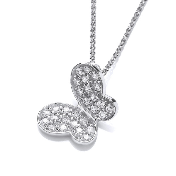 "Silver and CZ butterfly pendant with 16 - 18"" Silver Chain"