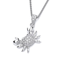 Cubic Zirconia and Silver Crab Pendant
