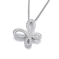 Loopy CZ Butterfly Pendant