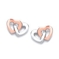 Silver and Rose Gold Linked Heart Earrings
