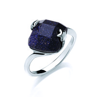 Blue Sandstone Diamond Ring