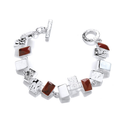 Silver and Red Jasper Oblongs Bracelet