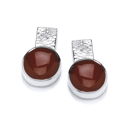 Silver and Red Jasper Round Stud Earrings