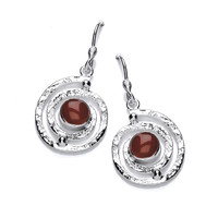 Silver and Red Jasper Infinity Drop Earrings