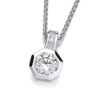Silver and CZ Octagonal Solitaire Pendant