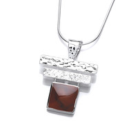 Silver and Red Jasper Piano Key Pendant