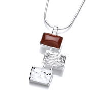 Silver and Red Jasper Oblongs Pendant