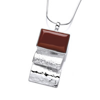 Silver and Red Jasper Oblong Pendant