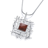 Silver and Red Jasper Crossgate Pendant