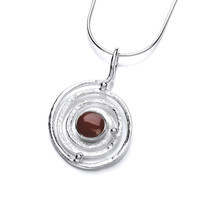 Silver and Red Jasper Infinity Pendant