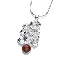 Silver Bubbles Pendant with Red Jasper