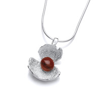 Red Jasper and Silver Crocus Pendant