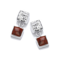Little Silver and Red Jasper Square Drop earrings