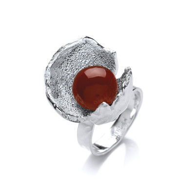 Red Jasper and Silver Crocus Ring