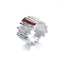 Silver and Red Jasper Steps Ring