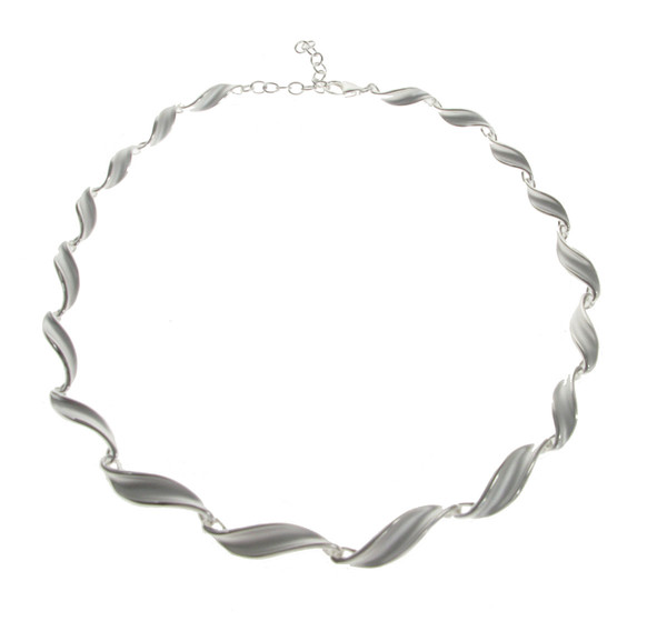 Sterling Silver Swirled Leaf Necklace
