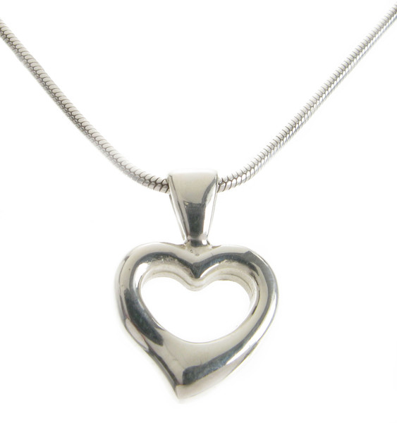 Sterling Silver Tiny Open Heart Pendant without Chain
