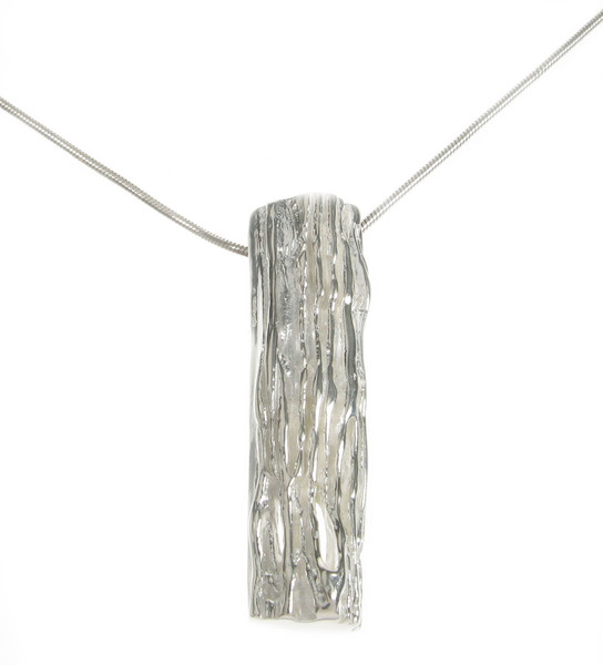 "Sterling Silver Textured Bar Pendant with 16 - 18"" Silver Chain"