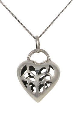 "Sterling Silver Open Pattern Detail Heart Pendant with 16 - 18"" Silver Chain"