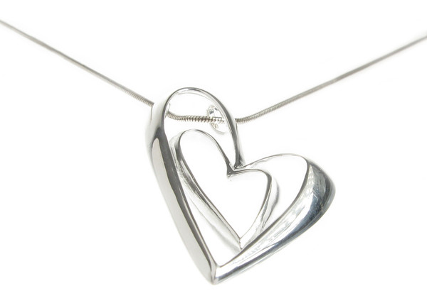 "Sterling Silver Heart in a Heart Pendant with 16 - 18"" Silver Chain"