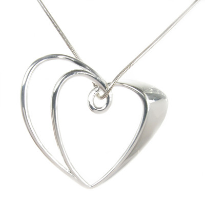 Sterling Silver Double Heart Pendant without Chain