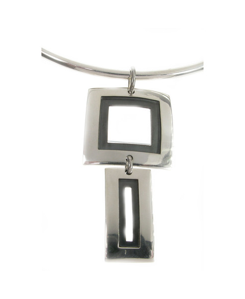 Sterling Silver Geometric Polished and Oxidised Pendant without Chain