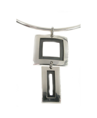 Sterling Silver Geometric Polished and Oxidised Pendant with Silver Collar/Torque