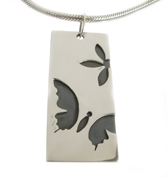 "Sterling Silver Butterfly Dog Tag Pendant with 18 - 20"" Silver Chain"