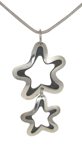 Sterling Silver Polished and Oxidised Fluid Stars Pendant without Chain