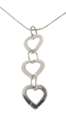 "Sterling Silver Tumbling Hearts Pendant with 16 - 18"" Silver Chain"
