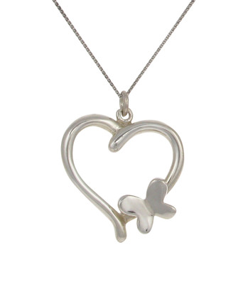 Sterling Silver Heart Pendant with Butterfly Motif without Chain