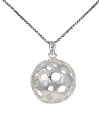 "Silver ball pendant with circles with 16 - 18"" Silver Chain"