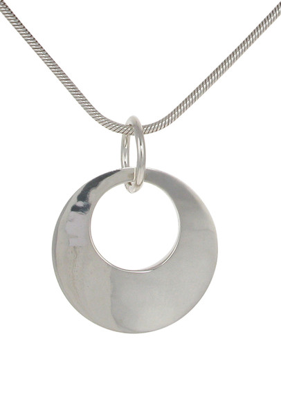 "Sterling silver chunky circle pendant with 18 - 20"" Silver Chain"