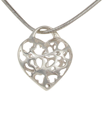 Sterling Silver Filigree Hearts in a Heart Pendant without Chain