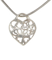 Sterling Silver Filigree Hearts in a Heart Pendant