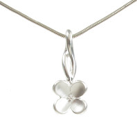 Sterling Silver Brushed Four Petals Pendant