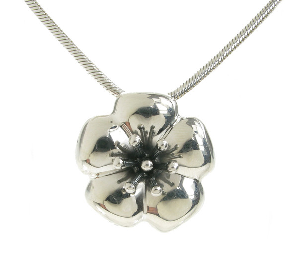 Sterling Silver Hibiscus Flower Pendant without Chain