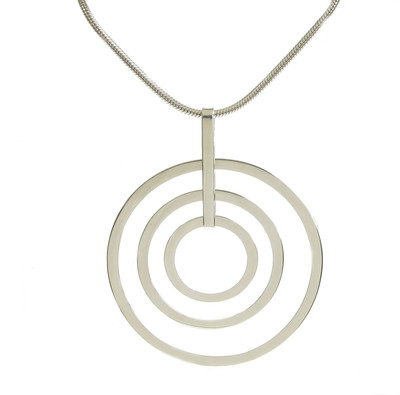 "Sterling Silver Rings Pendant with 18 - 20"" Silver Chain"
