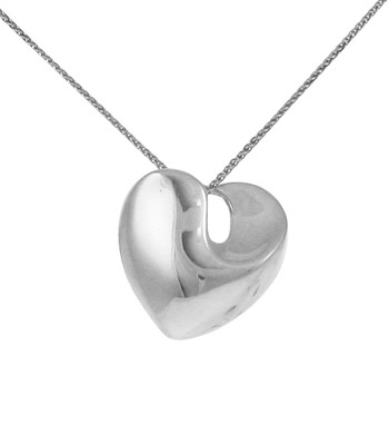 Sterling Silver Solid Swirled Heart Pendant without Chain