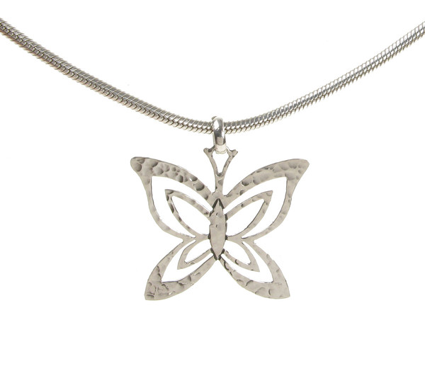 Sterling Silver Fine Hammered Butterfly Pendant without Chain