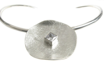 Sterling Silver and CZ Dish Pendant with Silver Collar/Torque