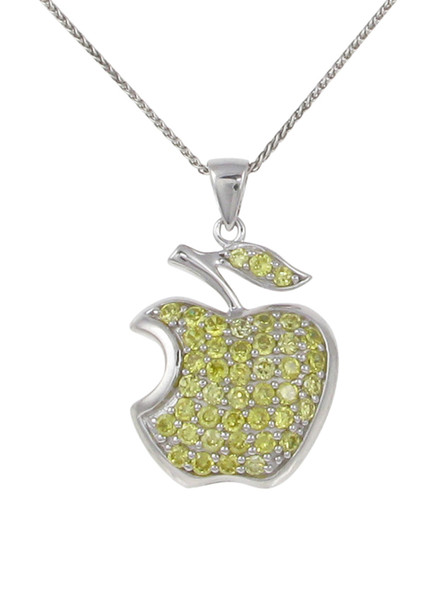 "Silver and CZ apple pendant with 16 - 18"" Silver Chain"