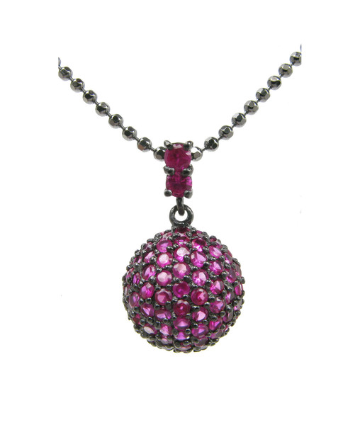 Silver and ruby CZ dome pendant without Chain