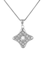 Silver and CZ diamond shaped pendant