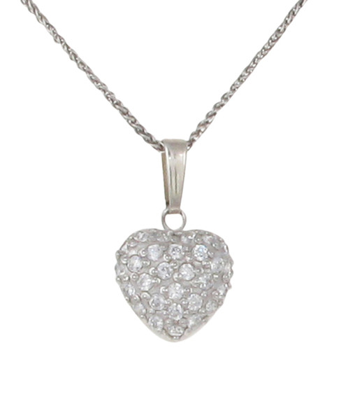 Sterling silver and CZ tiny heart pendant without Chain