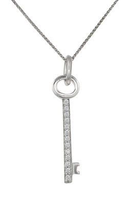 Sterling Silver and CZ Tiny Key Pendant without Chain