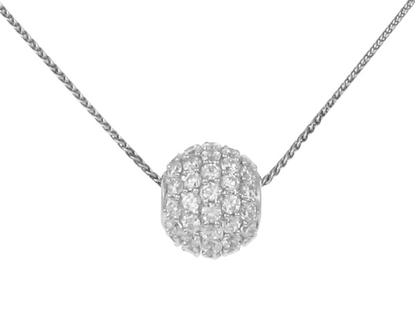 "Sterling Silver and CZ Ball Pendant with 16 - 18"" Silver Chain"