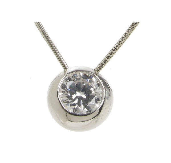 Sterling Silver and CZ Bowl Pendant without Chain