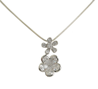 Double CZ and Sterling Silver Blossom Pendant without Chain