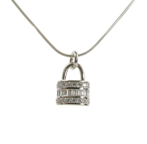 CZ and Sterling Silver Padlock Pendant without Chain